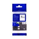 Kompatibilní páska s Brother TZE-FX211, 6mm, černý tisk na bílém podkladu, flexibilní